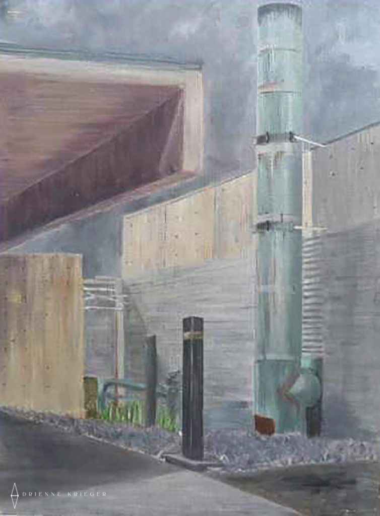 Acrylic painting of part of a building