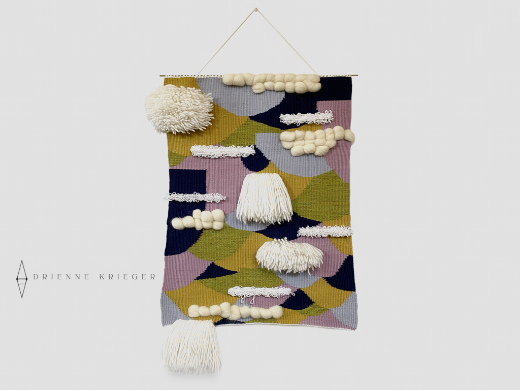 Multi color textured wool wall hanging tapestry weaving.